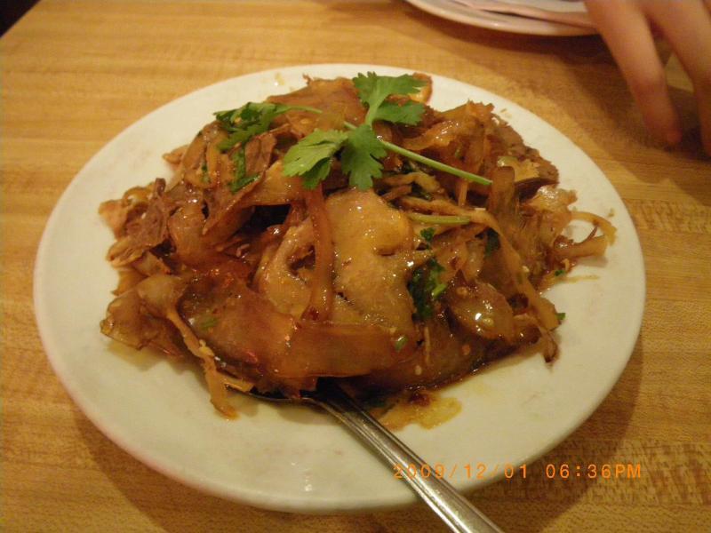 別の日に来た時に食べた四川料理。名前は知らないです。コリコリとして美味しかったです。